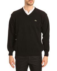 Lacoste Noble Black Vneck Sweater - Lyst
