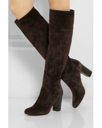 Lanvin Suede Knee Boots - Lyst