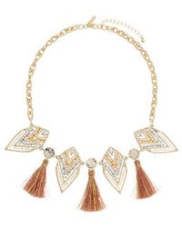 Topshop Tassel And Beaded Arrow Necklace - Lyst