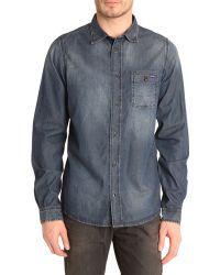 Diesel Shrob-D Blue Denim Shirt blue - Lyst