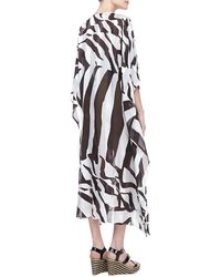 Escada Zebraprint Silk Caftan with Wooden Beads - Lyst