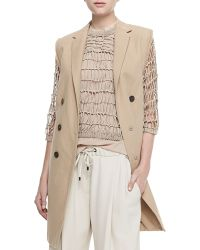 Brunello Cucinelli Long Double-Breasted Vest W/ Fringe - Lyst
