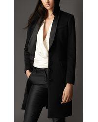 Burberry Chain Detail Cashmere Tuxedo Coat - Lyst