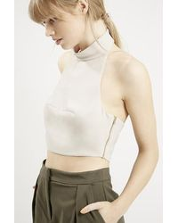 Topshop Roll Neck Crop Top - Lyst