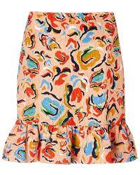Saloni Lou Printed Ruffle Skirt beige - Lyst