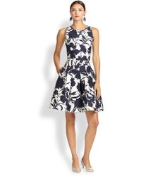 Oscar de la Renta Two-Tone Floral Sheath Dress - Lyst