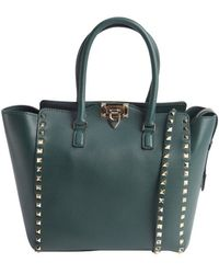 Valentino Olive Leather Rockstud Studded Detail Small Convertible Top Handle Tote - Lyst