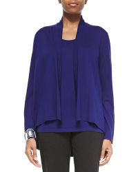 Eileen Fisher Angled Open Front Cardigan - Lyst