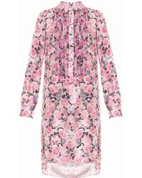 Adam Lippes Rose-Print Silk Dress - Lyst