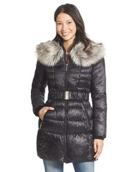 Betsey Johnson - Faux Fur Collar Belted Quilted Coat - Lyst