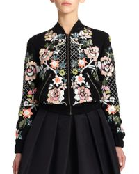 Needle & Thread Floral Sequin-Embroidered Bomber Jacket - Lyst