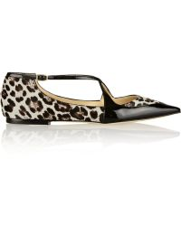 Jimmy Choo Gamble Patenttrimmed Calf Hair Pointtoe Flats - Lyst