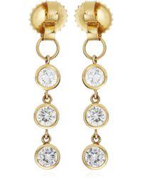 Janis Savitt - Triple Diamond Hoop Earrings - Lyst