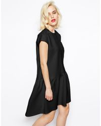 Asos Shift Dress in Quilted Texture with Dropped Waist - Lyst