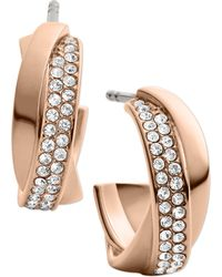 Michael Kors Rose Goldtone Crystal Twisted Hoop Earrings - Lyst