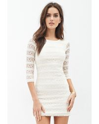 Forever 21 Striped Lace Dress - Lyst