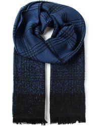 Fendi Blue Checked Scarf - Lyst