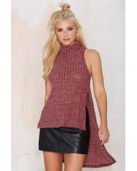 Nasty Gal | Joy Division Asymmetric Sweater Top - Burgundy | Lyst