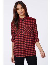 Missguided Mamie Boyfriend Plaid Shirt Red - Lyst