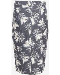L'Agence Palm Print Skirt - Lyst