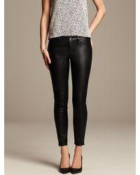 Banana Republic Sloan Fit Faux Leather Ankle Pant Black - Lyst