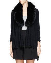Alice + Olivia Izzy Fox Fur Collar Open Front Cardigan - Lyst