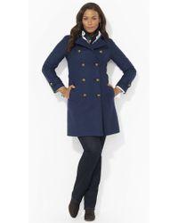 Lauren by Ralph Lauren Wool-Blend Military Pea Coat - Lyst