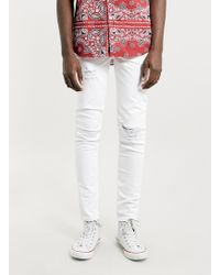 LAC - White Ripped Stretch Skinny Jeans - Lyst