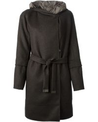 Max Mara Removable Lining Hooded Wrap Coat - Lyst