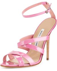 Manolo Blahnik Patent Leather Strappy Sandal - Lyst