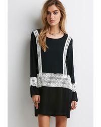 Forever 21 Contrast Crochet-Paneled Shift Dress - Lyst