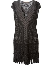 Roberto Cavalli Scalloped Knitted Dress - Lyst