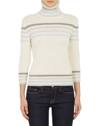 Barneys New York Striped Turtleneck Pullover Sweater - Lyst