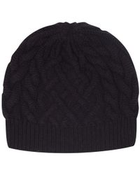 Johnstons - Cable Knit Cashmere Beanie Hat - Lyst