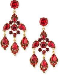 Oscar de la Renta Cardinal Red Crystal Chandelier Clipon Earrings - Lyst