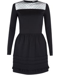 RED Valentino Black Lace Trim Dress - Lyst