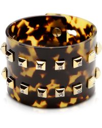 Pluma Resin And Brass Double Viti Large Bangle W/crystals