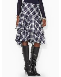 Lauren by Ralph Lauren Ruffled Tartan Skirt - Lyst
