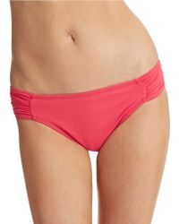 La Blanca Core Solid Shirred Hipster Swim Bottoms - Lyst