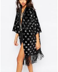 Jaded London - Velvet Kimono With All Over Glitter Star Print - Lyst