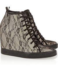 DKNY Lacecovered Leather Wedge Sneakers - Lyst