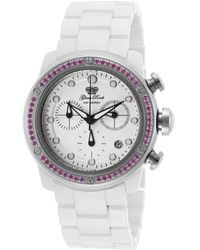 Glam Rock - Women's Aqua Rock Chrono White Ceramic And Dial Pink Crystals - Lyst