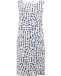 Oscar de la Renta Sleeveless Square-Print Shift Dress - Lyst