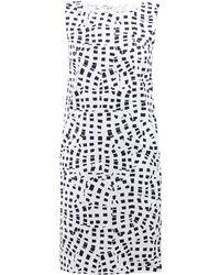Oscar de la Renta Sleeveless Square-Print Shift Dress - Lyst