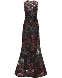 Elie Saab Embroidered Floral Guipure Sleeveless Gown - Lyst