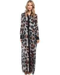 Vera Wang Watercolor Rose Habotai Shirt Gown with Black Collar  Placket - Lyst