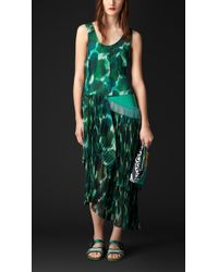 Burberry Pleat Detail Floral Print Silk Dress green - Lyst