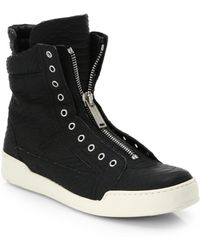 DSquared² Stampa Embossed-Leather High-Top Sneakers - Lyst