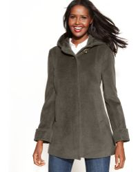 Jones New York Petite Woolangorablend Hooded Coat - Lyst