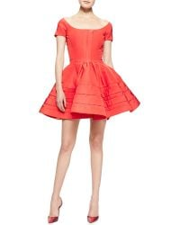 Zac Posen Shortsleeve Faille Flare Dress Azalea - Lyst